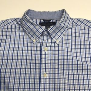 TOMMY HILFIGER Men's Large Blue Dress Shirt